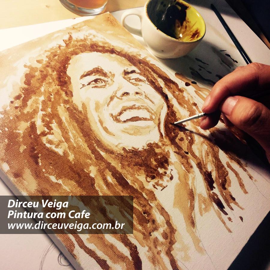 bob marley pintura com café
